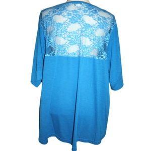 Caren Sport Women's Blouse 3X Bright Turquoise Top